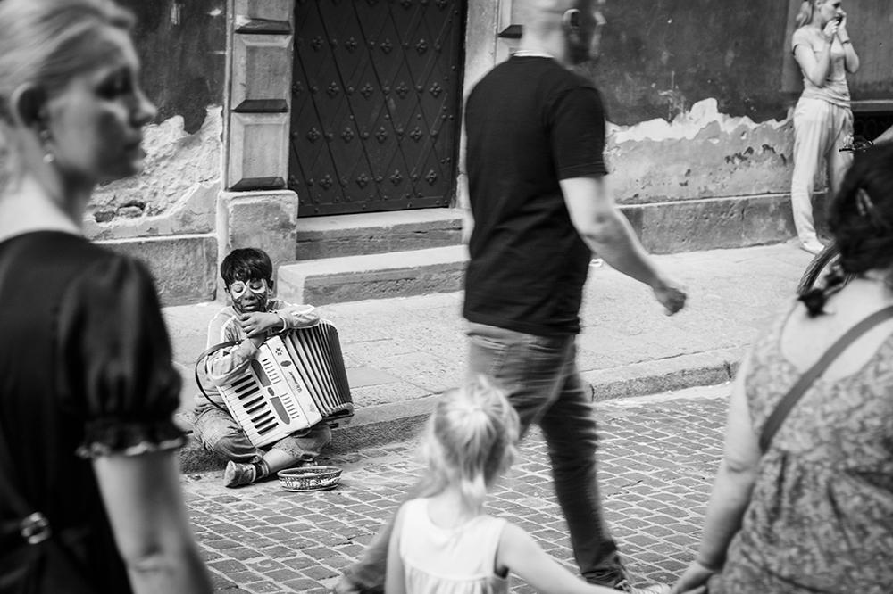 Warszawa grajek na Starym Mieście