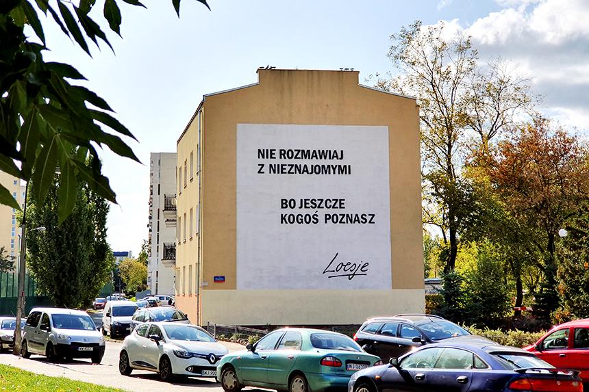 Mural Warszawa, ul.Gościeradowska 9, Loesje
