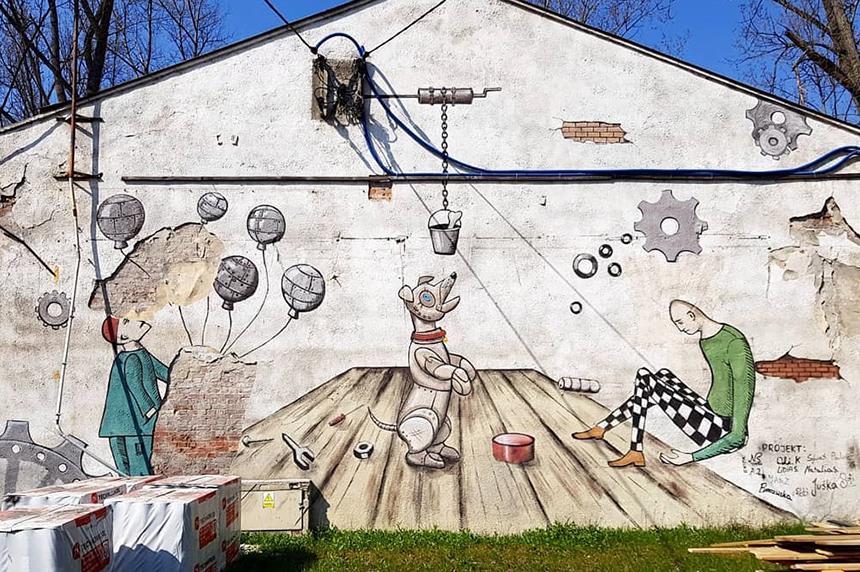 Mural Warszawa, ul.Szwedzka 2/4, Akademia Aktywnego Varsavianisty