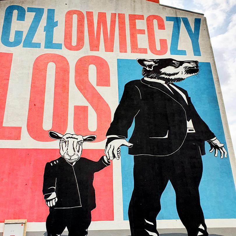 Mural Warszawa, ul. Radzymińska 150, Twożywo i Klaus Klinger Człowieczy los