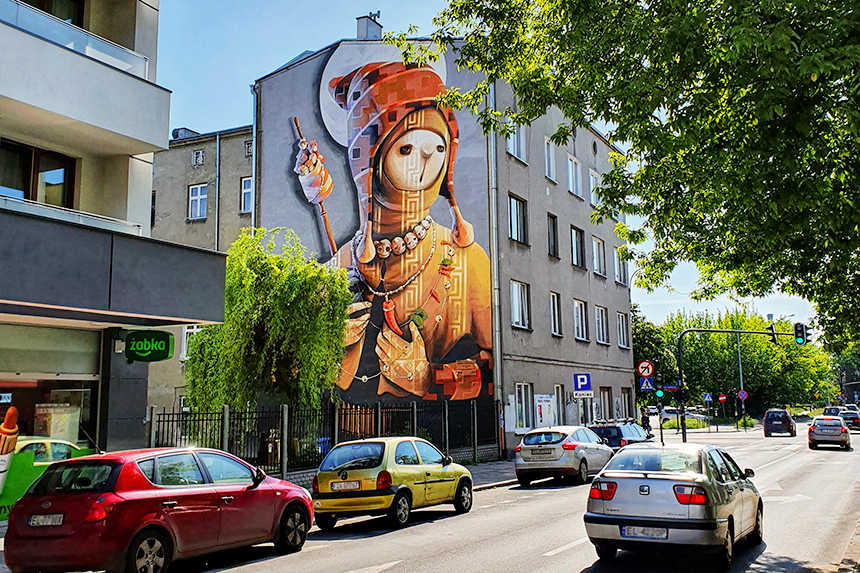 mural Łódź, ul. Strzelców Kaniowskich 48, Inti