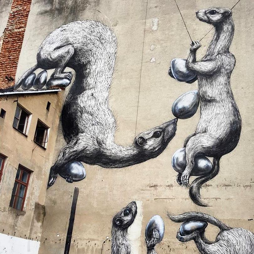 mural Łódź, ul. Nowomiejska 5, Roa