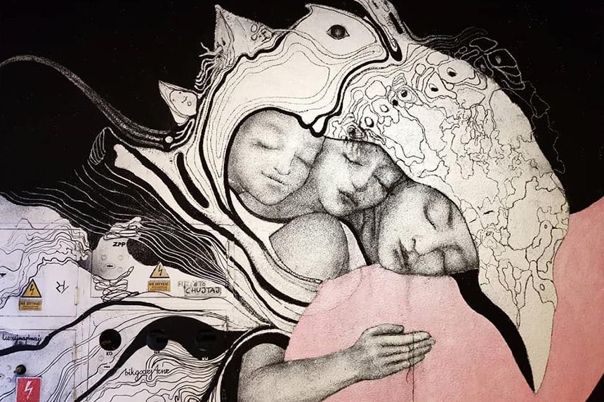 mural Katowice, ul. 3 maja 11, Mona Tusz
