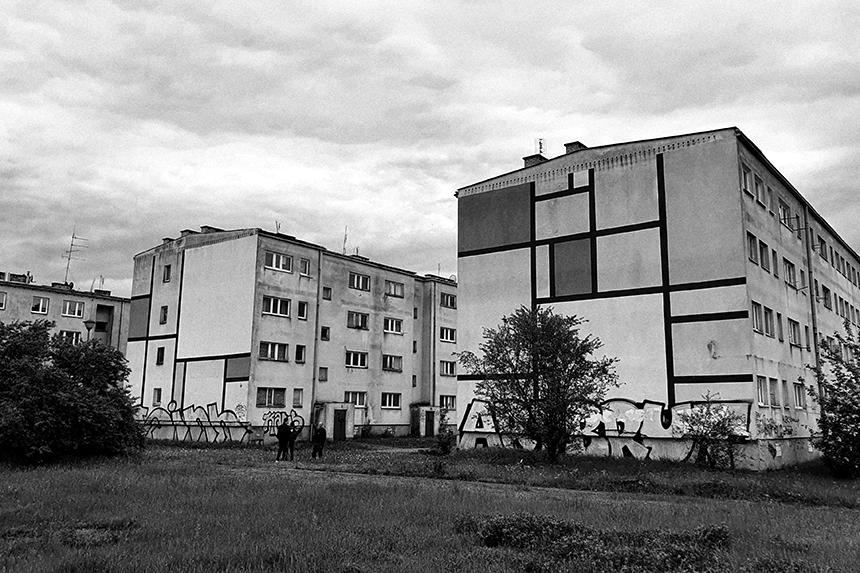 Dudziarska Warszawa - Murale odnoszące się Pieta Mondriana i tradycji ugrupowania artystycznego De Stijl.